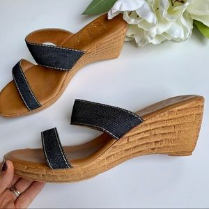 Italian Shoemakers | Denim Strapy Wedges 9 1/2